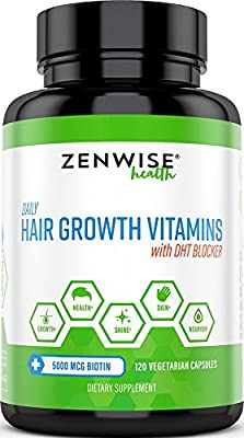 Hair Growth Vitamins Supplement - 5000 mcg Biotin & DHT Blocker Hair Loss Treatment for Men & Women - 2 Month Supply With Vitamin A & E to Stimulate Faster Regrowth + Care for Damaged Hair