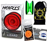 Henrys LIZARD YoYo (RED) Professional Entry-Level YoYo +Instructional Booklet of Tricks, 6x EXTRA STRINGS +Travel Bag! Pro YoYos For Kids and Adults!