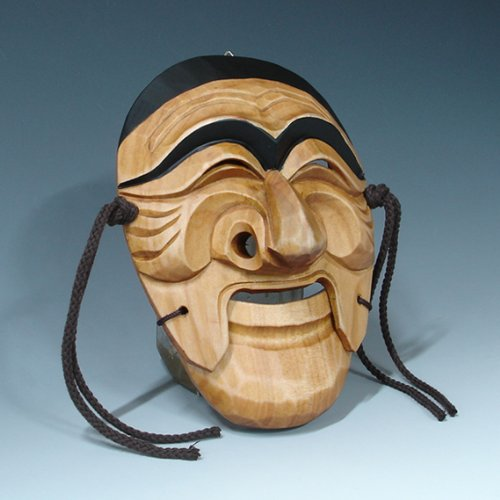Hand Carved Korean Hahoe Man Dance Smile Wooden Wall Decor Plaque Art Decorative Hanging Asian Mask