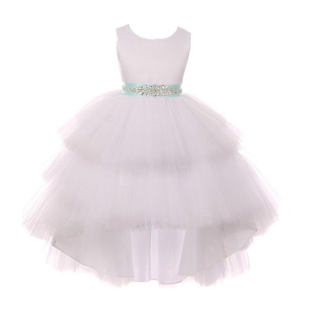6ddb7a2c46d Amazon.com  Little Girls White Mint Satin Tulle Belt Hi-Low Flower Girl  Dress 4  Clothing