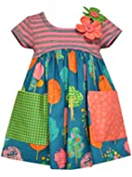 Bonnie Jean Little Girls' Teal Coral Stripe to Forest Print Empire Dress