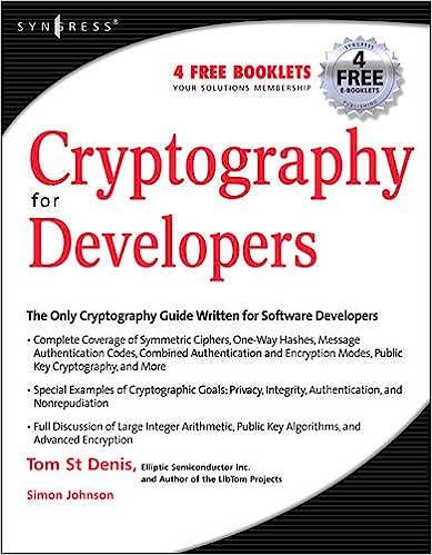 Cryptography for Developers: Tom St Denis: 9781597491044