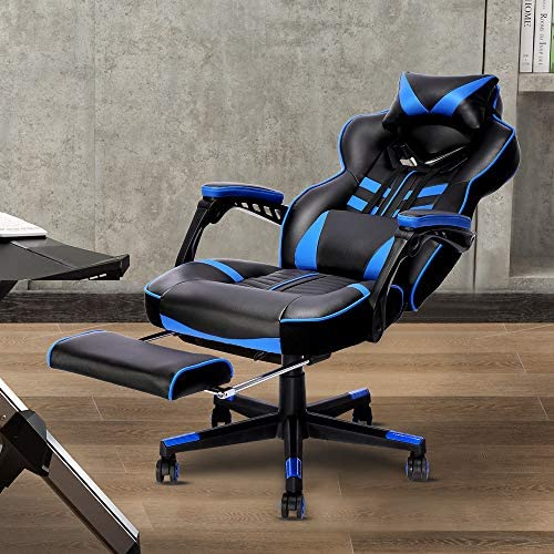 Bonzy Home Gaming Chair Office Desk Computer Chairs with Footrest Adult High Back Armrest Ergonomic Design with Adjustable Height and Lumbar(Blue) 517FPqigCcL