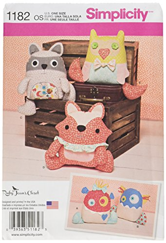 Simplicity Patterns US1182OS Stuffed Animals and Monsters, OS (ONE Size)