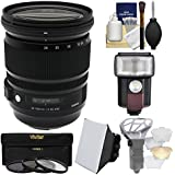 Sigma 24-105mm f/4.0 Art DG OS HSM Zoom Lens 3 UV/CPL/ND8 Filters + Flash + Soft Box + Diffuser Kit Canon EOS DSLR Cameras