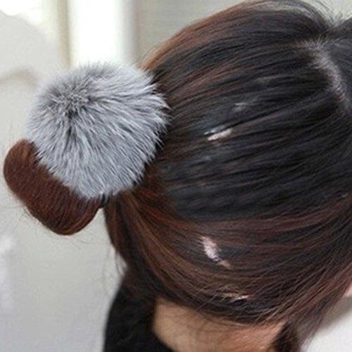 ALICE 12 Pcs Fluffy Ball Pom Pom Scrunchies Elastic Ponytail Holder