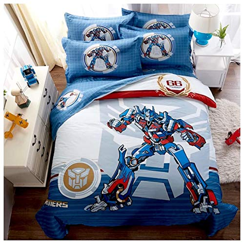 Peachy Baby Featuring Transformers Optimus Bedding Sheet Set Single Queen Twin Full Size【100% Cotton】【Free Express Shipping】 Blue Cool Cartoon Superhero Bed 3 and 4 Pieces (Single/Twin Size)]()