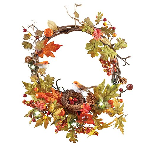 Lighted Fall Berries Bird Wreath
