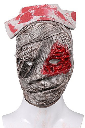 xcoser Silent Nurse Mask Light Gray Deluxe Latex Halloween Cosplay Props -