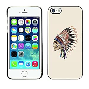 Colorful Printed Hard Protective Back Case Cover Shell Skin for Apple iPhone 5 / iPhone 5S ( Indian Feathers Skull Native American )