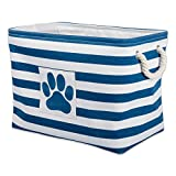 DII Bone Dry Large Rectangle Pet Toy and Accessory Storage Bin, 17.75x12x15', Collapsible Organizer Storage Basket for Home Décor, Pet Toy, Blankets, Leashes and Food-Navy Stripes
