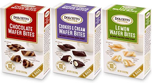 Dolcetto Petites Wafer Bites 3 Flavor Variety Bundle: (1) Dolcetto Chocolate Wafer Bites, (1) Dolcetto Lemon Wafer Bites, and (1) Dolcetto Cookies & Cream Wafer Bites, 4.2 Oz. Ea. (3 Boxes Total)