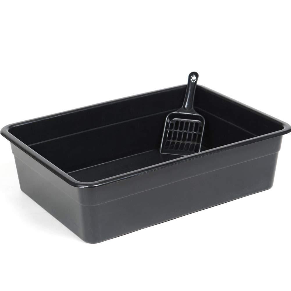 Black 493512.5cm Black 493512.5cm CHEN. Pet litter box pet toilet open cat toilet with cat litter shovel cat supplies,Black,49  35  12.5cm