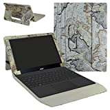 "Acer Switch Alpha 12 Case,Mama Mouth 2-in-1 Romovable Portfolio PU Leather Folio Stand Cover For 12"" Acer Aspire Switch Alpha 12 Windows 10 Detachable Convertible Laptop Tablet,Map White"