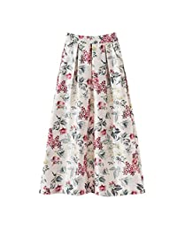 Forthery Womens Spring And Summer Flower Print Fashion Casual Skirt Retro A-line Long Skirt