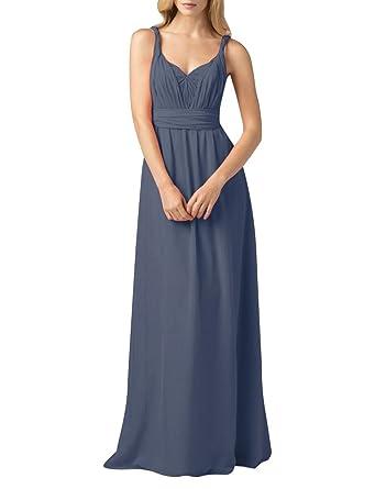 ShiYuan Womens Elegant Chiffon Long Evening Dresses Formal Prom Gown Steel UK 12