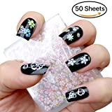 MAKARTT 50 Sheets 3D Nail Decals Tip Nail Art Sticker Mix Color Self-adhesive Flower Decal Decoration