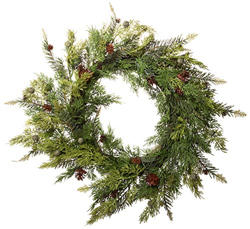 Red Co. Artificial Pine & Juniper Wreath - Great Front Door and Wall Winter Christmas Decoration - 22 Inches