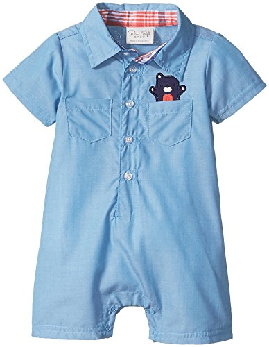 Rene Rofe Baby Baby Boys' 1 Piece Woven Collared Button Front Romper, Blue Chambray Bear, 0-3 Months