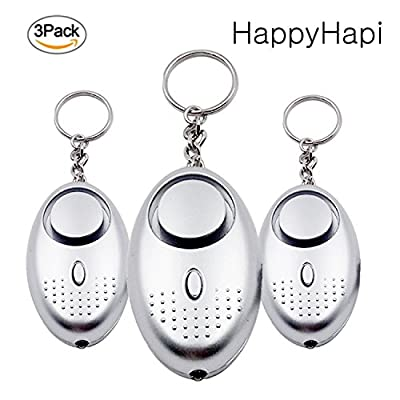 Personal Alarm, HappyHapi 3 PACK Personal Alarms Security Devices 130 DB with LED light, Emergency Personal Alarm Keychain for Women, Kids, Girls, Superior, Explorer Self Defense Electronic Device Bag