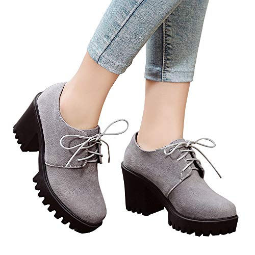 Outtop(TM) Women Four Seasons Thick Heels Platform Martains Boots (US:8, Gray)
