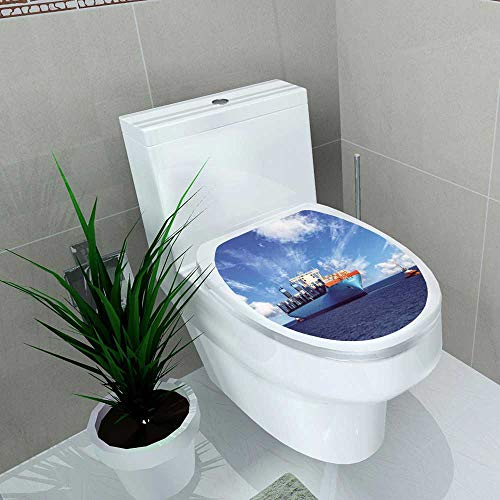 Auraise-home Decal Wall Art Decor tugboats Assisting Container Cargo Ship to Harbor Bathroom Creative Toilet Cover Stickers W13 x L13