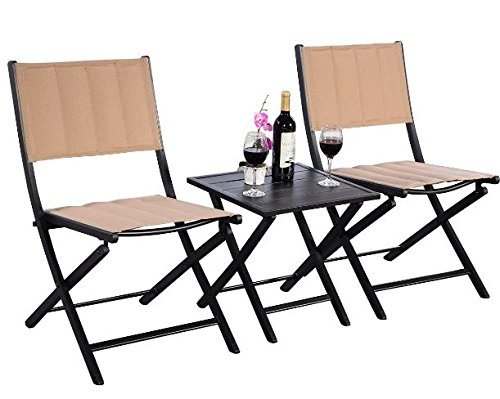 K&A Company Patio Bar Bistro Set Furniture Table Pub Kitchen Stools Breakfast Dining Home Indoor Square Bistro Furniture Set Cast Aluminum Folding 3 pcs by K&A Company