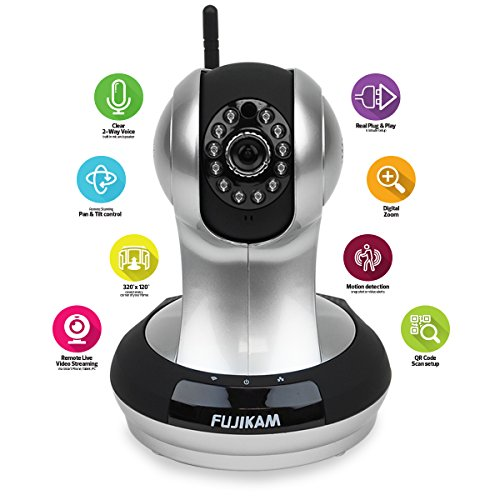 Fujikam FI-361 HD Wifi Video Monitoring Surveillance security cameraplugplay PanTilt with Two-Way Audio and Night Vision