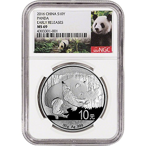 2016 CN China Silver Panda (30 g) Early Releases - Panda Label 10 Yuan MS69 NGC
