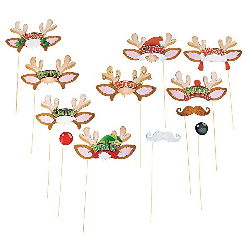 Fun Express - Santa's Reindeer Photo Stick Props for Christmas - Apparel Accessories - Costume Accessories - Costume Props - Christmas - 12 Pieces]()