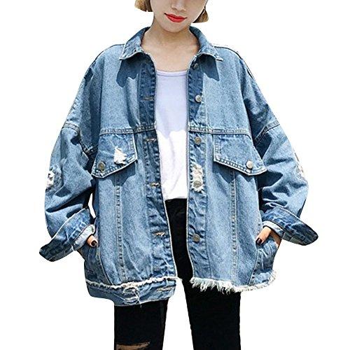 Mujer Denim Chaquetas Vaquera Oversized Azul Mezclilla Abrigo Chaqueta Para De Jacket 4PUgq