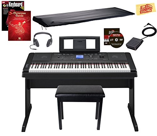 Discover Bargain Yamaha DGX-660 Digital Piano - Black Bundle with Furniture Bench, Dust Cover, Headp...