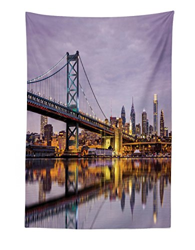 Lunarable City Tapestry, Ben Franklin Bridge Skyscrapers Delaware Tower Modern Cityscape Panorama Photography, Fabric Wall Hanging Decor for Bedroom Living Room Dorm, 30 W X 45 L inches, Lilac Yellow -