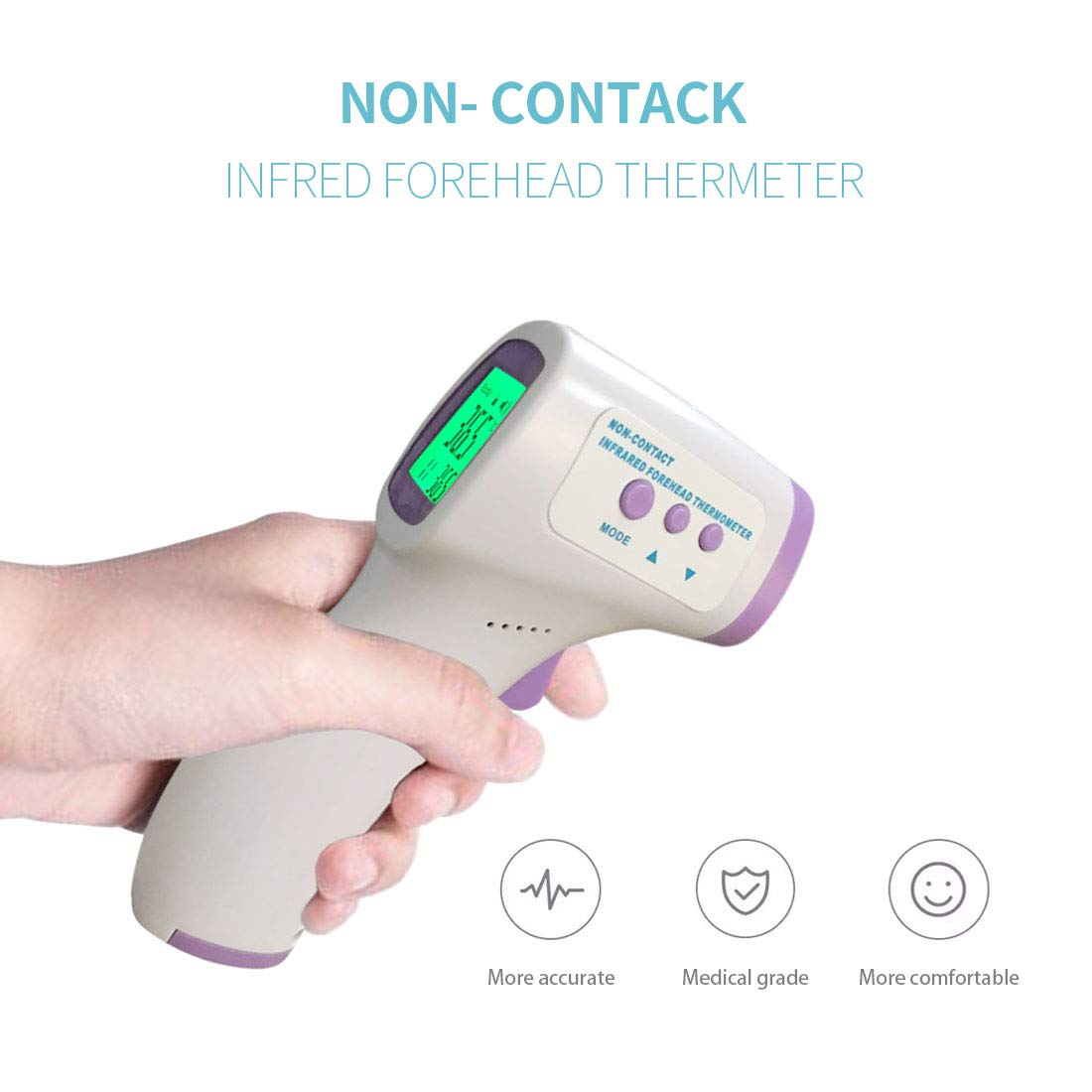 No Touch Digital Infrared Temporal Human Temperature Measuring Forehead for Adults Kids Baby All Ages Fever