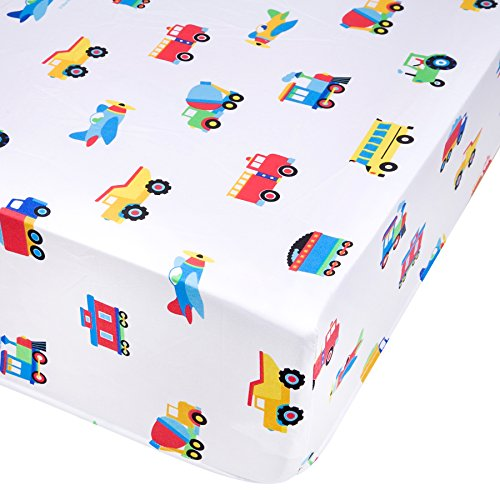 Wildkin Fitted Crib Sheet, Trains Planes & Trucks