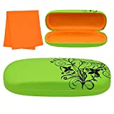 Floral Designed Protective Clamshell Glasses Case with Microfiber Cleaning Cloth - Green