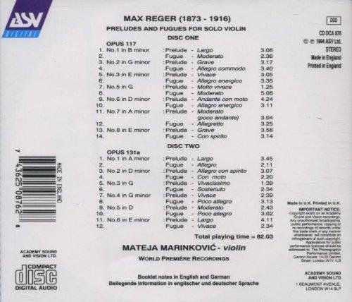 Reger: Complete Preludes & Fugues for Solo Violin (World Premiere Recording)