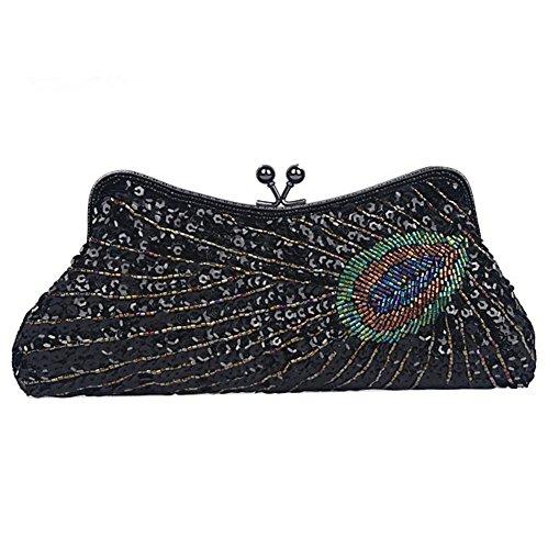 pour x embrayage femmes de soirée 13 party sac dinner peacock black à 25 sacs perles main antique cm paillettes wvSEZZ