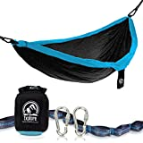 Image of Explore Outfitters PRO Nylon Double Hammock With Tree Straps (Black/Blue)