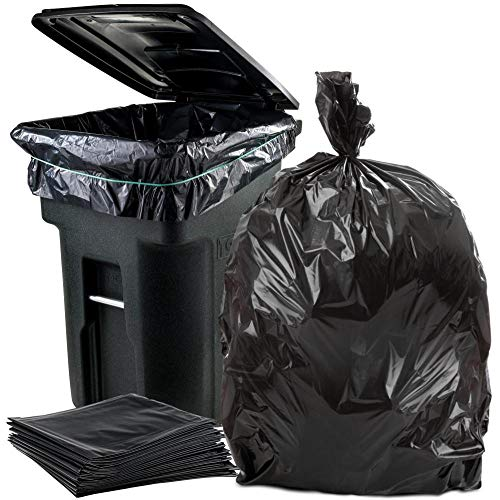 Plasticplace 95-96 Gallon Garbage Can Liners │ 3 Mil │ Black Heavy Duty Trash Bags │ 61' x 68' (25 Count)