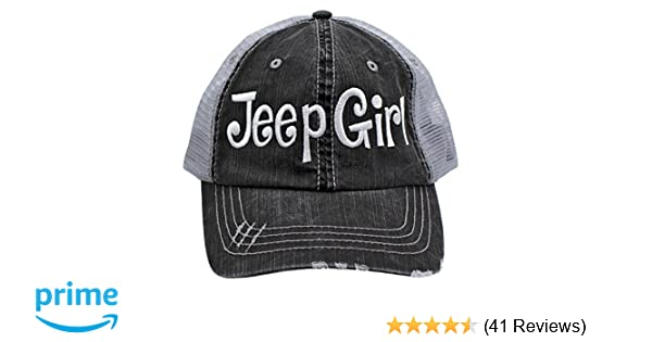 Amazon.com  Jeep Girl Embroidered Trucker Style Cap Hat Grey Grey White   Home   Kitchen 6ef12e5656