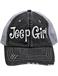 7fc0d29cc41 Jeep Girl Embroidered Trucker Style Cap Hat Grey Grey White