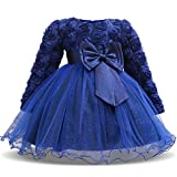 NNJXD Girl Long Sleeves Lace 3D Flower Tutu Holiday Princess Dresses Size (80) 7-12 Months Deep Blue