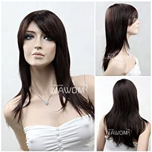 (WG-ZL602-2-33) Long Straight Hair Wig,dark brown color.