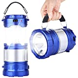 LED Camping Lantern - CaseTop Outdoor Camping Lamp, Portable Outdoor Rechargeable Solar LED Camping Light Lantern Handheld Flashlights with USB Charger, Perfect Hiking Fishing Emergency Lights - Blue