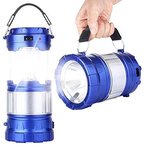 CaseTop Outdoor Camping Lamp, Portable Outdoor Rechargeable Solar LED Camping Light Lantern Handheld Flashlights with USB Charger, Perfect Hiking Fishing Emergency Lights - Blue