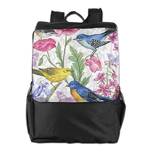 Travel Women Storage Dayback School Camping Personalized Backpack For HSVCUY Adjustable Men Birds And Outdoors Strap With Flowers Pretty Shoulder ax6tR4q
