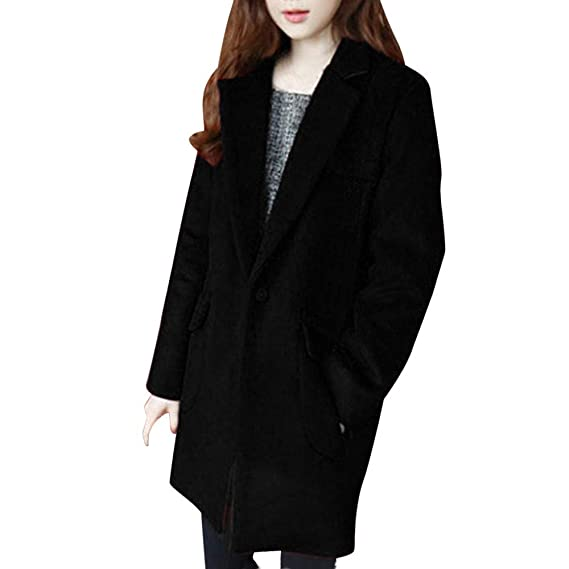 9931901a16a HLHN Women Jacket Trench Coat Winter Wool Slim Fit Vintage Parka Outwear  Lapel Long Sleeve Button Pockets Double-Breasted  Amazon.co.uk  Clothing