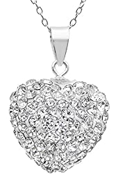 .925 Sterling Silver Crystal Heart Shape Pendant Necklace,18""