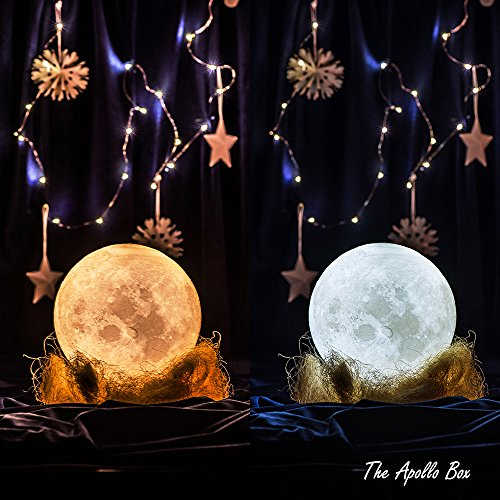 3D Printing Moon Lamp, Smart Touch Control Rechargeable LED Moon Night Light with Multi-Colors for Bedrooms,Best Moon Desk Lamp for Babies Kids & Lovers with Ceramic Hand Base (Childrens Ceramic Lamp)